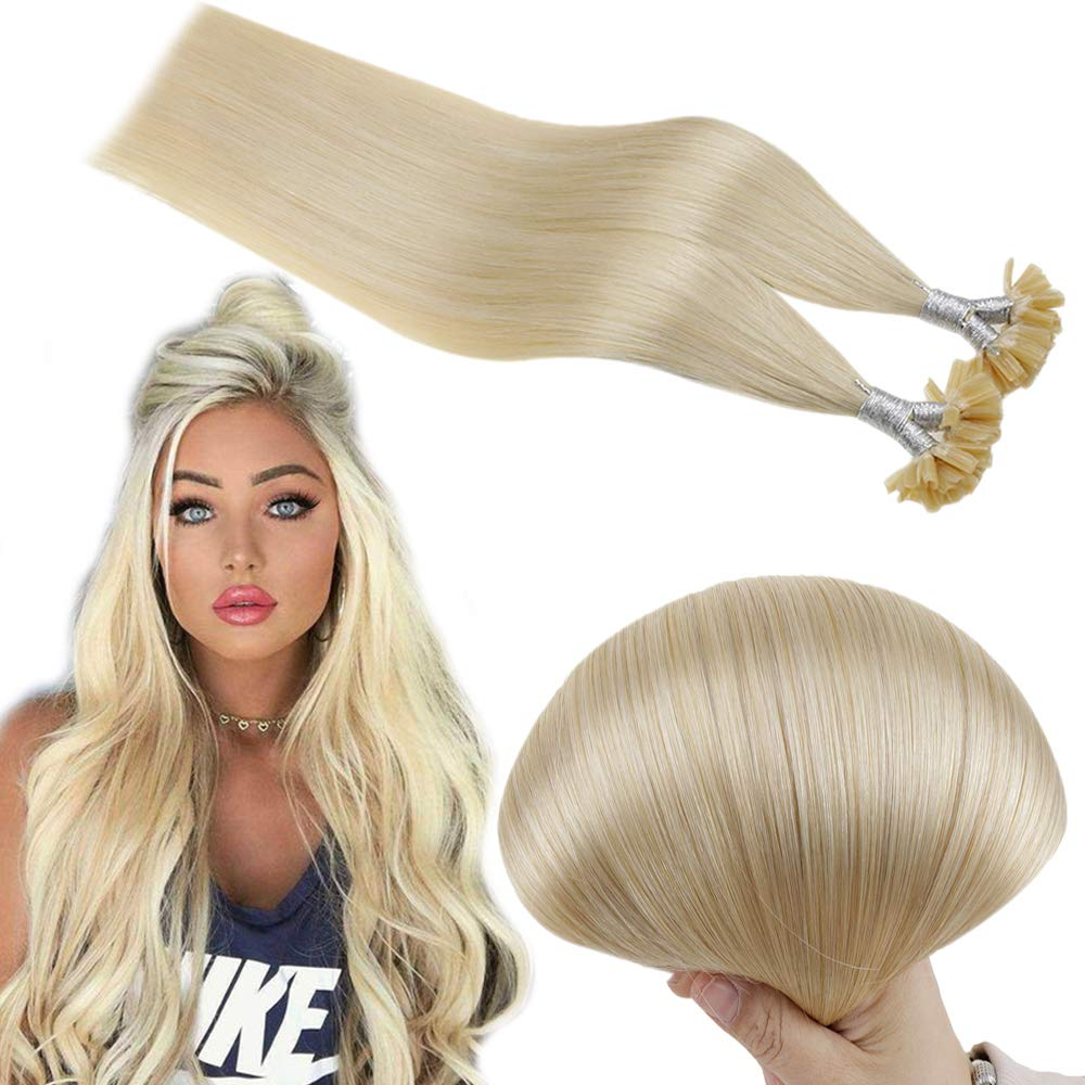 Runature Tip Nail Extentions 16 Inches Color 613 Bleach Blonde 40g 50 Strands 0.8g per Strand Human Remy Hair Extensions with Hot Fusion Glue Bonding for Women