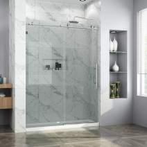 "ELEGANT 60"" W x 72"" H Frameless Glass Sliding Shower Doors, 3/8"" Clear Glass Panel Polish Shower Door with Stainless Steel Stable Shower Door Pull Knobs, Chrome Finish"