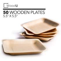 """Disposable Plates All Natural Biodegradable Birch Wood for Parties, Events (5.5"""" x 5.5"""" Appetizer Plate)"""