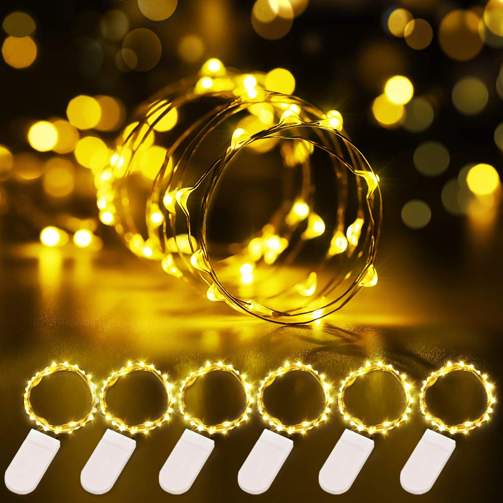 Govee 6 Pack Fairy Lights 3.3ft with 20 LEDs, Battery Operated String Lights Waterproof Flexible Silver-Plated Copper Wire Light for DIY Bedroom Patio Parties Wedding Festivals