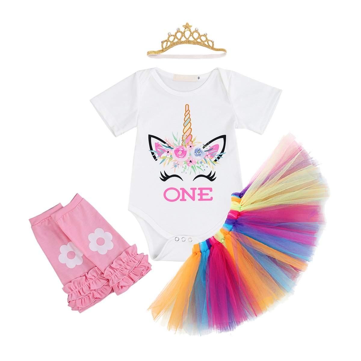 Girl Newborn It's My First Birthday Cartoon Costume Party Outfits Romper+Tutu Skirt+Flower Headband Dress Clothes Set