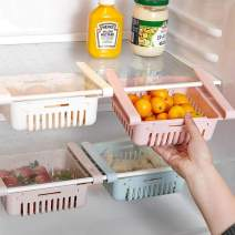 Fridge Drawer Organizer 4 Pack Retractable Pull Out Refrigerator Storage Box Fridge Shelf Holder Storage Box Pull Out Bins Small Size Fit for Fridge Shelf Under 0.5 inch