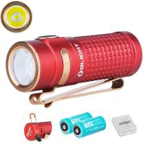Olight S1R Baton II Red 1000 Lumens CW LED IMR16340 Magnetic Rechargeable Side-switch EDC Flashlight with Battery and Battery Box,Limited Edition Red (Two Battery Pack)