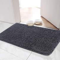Cozins Bath Mat Chenille 31 x 19 Inches, Non-Slip Soft Water Absorbent Shaggy Bath Rug, Machine Washable Dry Fast Doormat for Toilet, Shower, Spa (Gray).
