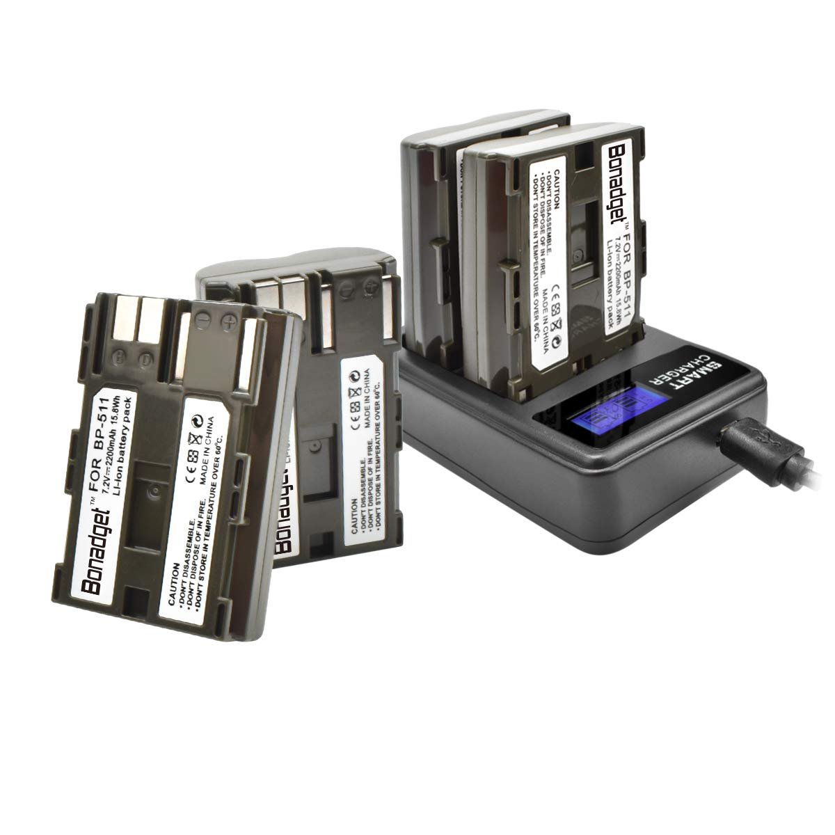 Bonadget 4 Pack 2200mAh BP-511 BP-511A Replacement Battery and LCD Dual Charger Compatible with Canon Rebel EOS 5D 40D 20D 50D 10D 30D 300D D30 D60 PowerShot G6 G5 G3 G2 G1