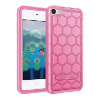 Fintie Silicone Case for iPod Touch 7 iPod Touch 6 iPod Touch 5 - (Honey Comb Series) Impact Shockproof Anti Slip Soft Protective Cover for iPod Touch 7th 6th 5th, Pink