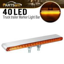 """Partsam 1Pc 12"""" Double Face 20 LED Auxiliary Light Bar Pedestal Lights Turn Signal and Marker Lights Truck Trailer Stud Mount Amber Front Amber Back"""