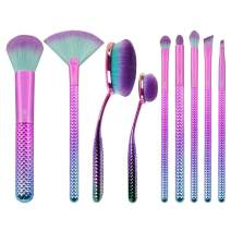 Royal & Langnickel MODA Full Size Prismatic10pc Makeup Brush Set with Pouch, Includes, Foundation, Contour, Multi-Purpose Powder, Fan, Eye Shader, Smoky Eye, Crease, Brow and Angle Eyeliner Brushes