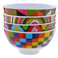 "French Bull 4"" Mini Bowl Set of 4 - Melamine Dinnerware - Small, Kids, Pasta - Graphic"