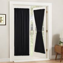 PONY DANCE Blackout French Door Curtain - Soft Fabric Heavy-Duty Rod Pocket Door Curtain for Privacy Window Drapery Including Bonus Adjustable Tieback, 54 x 72 inches, Black, One Panel