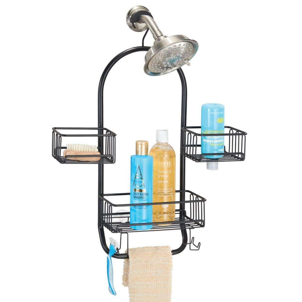 mDesign Modern Metal Wire Bathroom Tub & Shower Caddy, Hanging Storage Organizer Center - 2 Wash Cloth/Razor Hooks, 3 Baskets - for Bathroom Shower Stalls, Bathtubs, Rust Resistant Steel - Matte Black