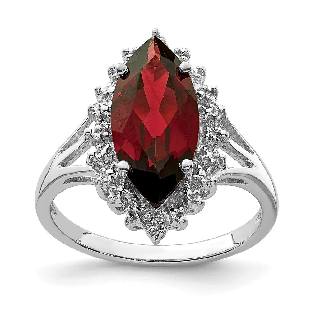 925 Sterling Silver Red Garnet Diamond Band Ring Stone Gemstone Fine Mothers Day Jewelry For Women Gifts For Her