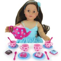 """Sophia's Doll Sized Pink & Blue 18"""" Doll Tea Party Set & Dessert Includes 17Piece, Perfect for American Girl Dolls & More! Doll Sized"""