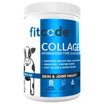 Fitcode Collagen Peptides - Enhanced Absorption, Hydrolyzed Type 1 & 3 Grass fed Collagen to Support Recovery, Healthy Skin, Hair, Nails and Joints 20 Servings unflavored Powder