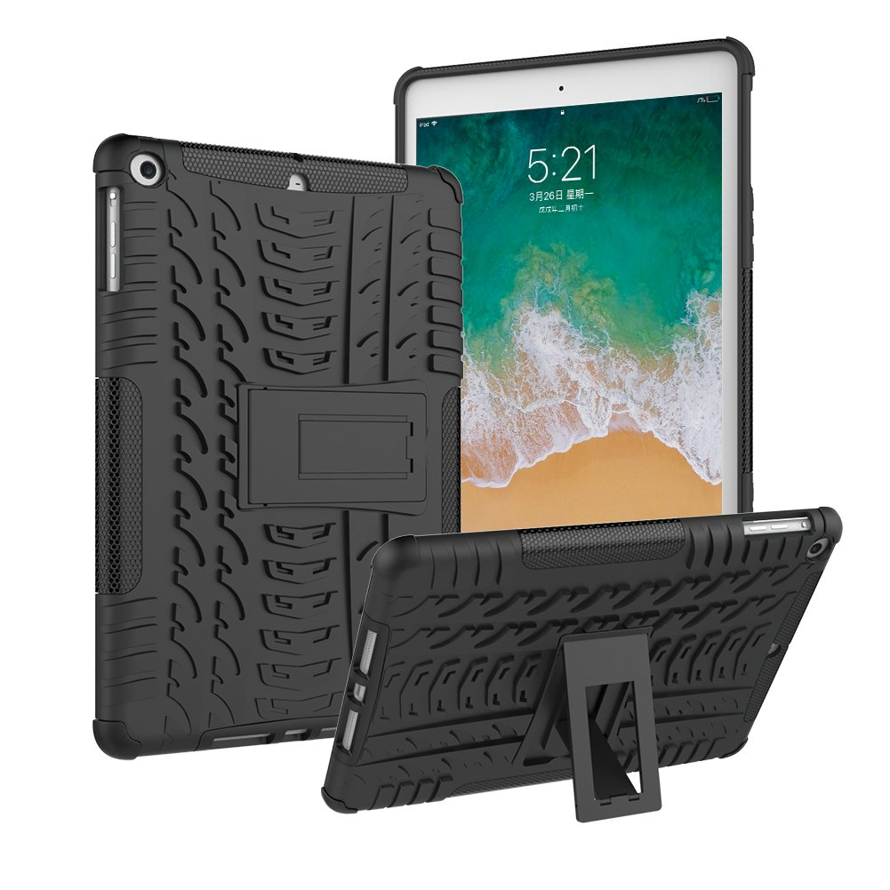 ROISKIN iPad 9.7 Case 2018 6th Generation and 2017 5th Generation/iPad Air 1 Case, Anti-Slip Shockproof Excellent Impact Resistance Dual Layer Heavy Duty Protective Case Cover with Kickstand-Black