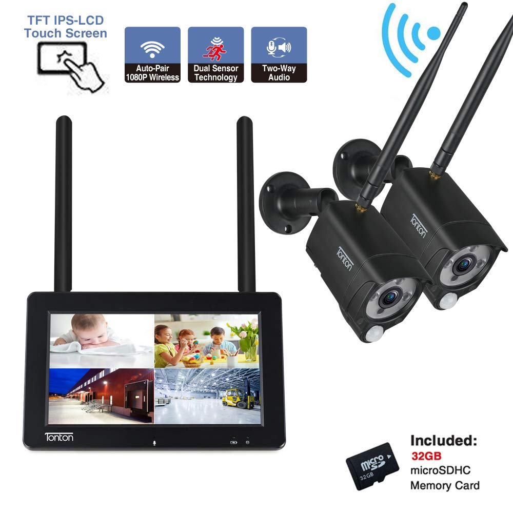 """[2-Way Audio]Tonton 1080P Portable LCD Security Camera System Wireless with 7"""" IPS Touchscreen Monitor, 4CH NVR Kit and 2PCS 2.0MP Camera with PIR Sensor,Rechargeable Battery,32GB SD Card Preinstalled"""