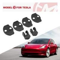 BougeRV For Tesla Model 3 Model Y Door Lock Cover Rustproof Door Stopper Latches Cover Set of 6 Black