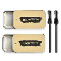 2 Pack Eyebrow Soap Kit Eye Brows Styling Soap Long Lasting Waterproof Smudge Proof Eyebrow Shaping Pomade for Natural Brows, 3D Feathery Brows Makeup Balm