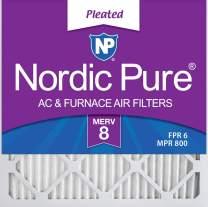 Nordic Pure 14x14x1M8-6 MERV 8 Pleated AC Furnace Air Filter, 14x14x1, Box of 6