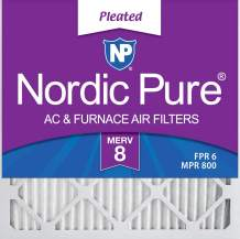 Nordic Pure 24x24x1 MERV 8 Pleated AC Furnace Air Filters 6 Pack, 24x24x1M8-6