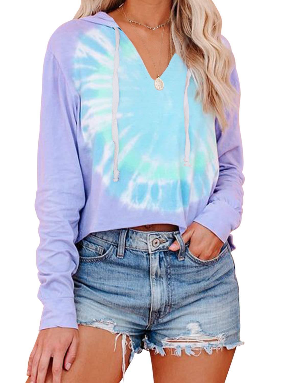 CANIKAT Women's Tie Dye Printed V Neck Hoodie Color Block Long Sleeve Pajama Tops Hooded Sweatshirt Loungewear