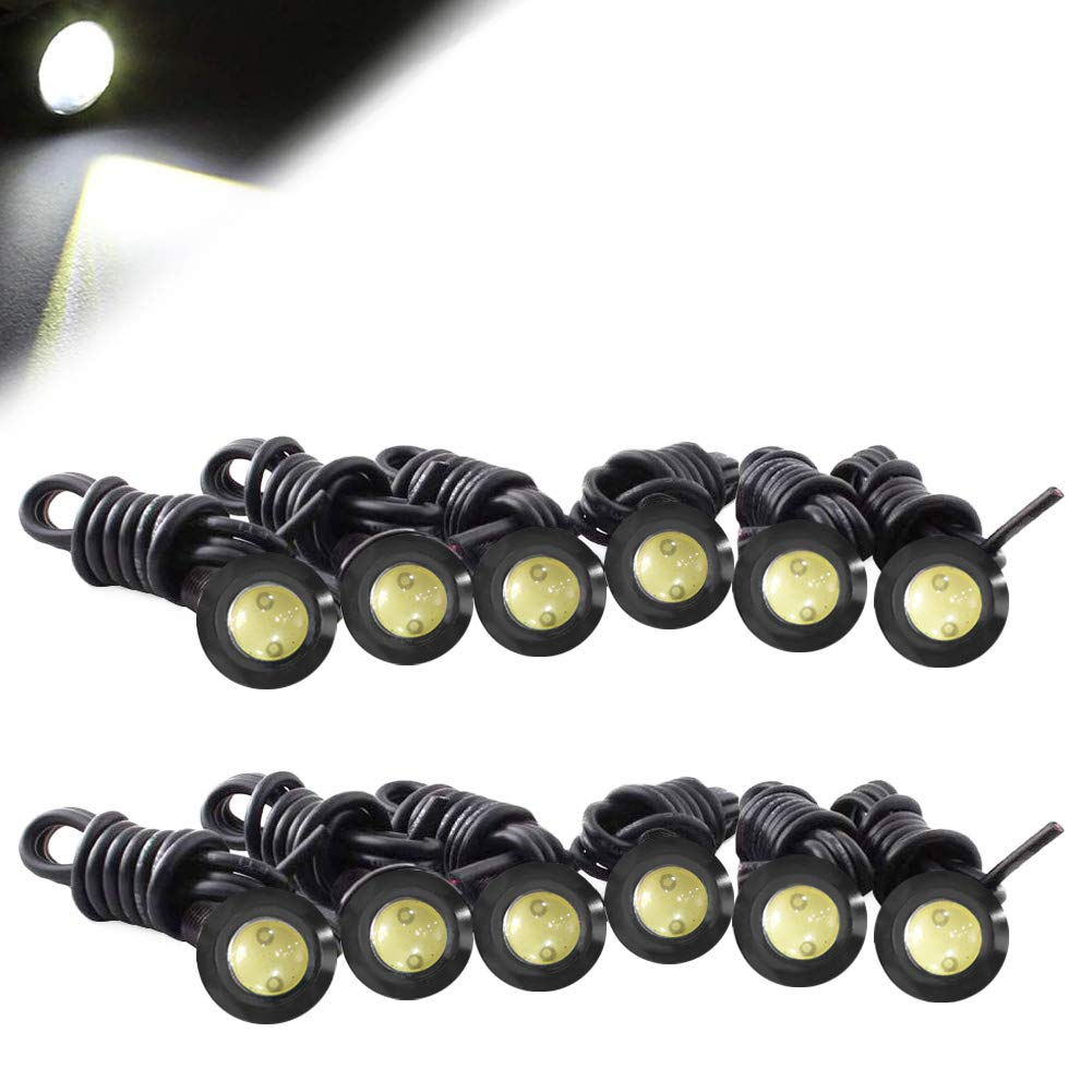 HOTSYSTEM Eagle Eye Led Light Bulbs 3W DC12V 12mm for Off-Road Car ATV Camper Trunk Motorcycle Day Time DRL License Plate Turn Signal Stop Parking Tail Reverse Fog Trunk Backup Light (White,12-Pack)