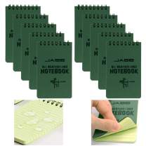 10 Packs All Weather Shower Waterproof Notebook, MOAMUN Pocket Size Tactical Notepad Top Spiral Memo Notes Green Grid Paper Eye Protection for Outdoor Activities Recording (3.2 x 5.5 in)