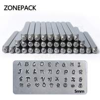 ZONEPACK 36PCS MS1903 5mm Jewelry Metal Stamps Alphabet Set A-Z Heart Symbol Leather Punch Die Case Craft Stamping Tools Steel Metal Tool