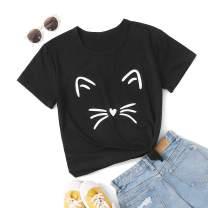 MakeMeChic Women's Graphic Cat Print Tee Cute Round Neck Short Sleeve Lounge T Shirt Tops