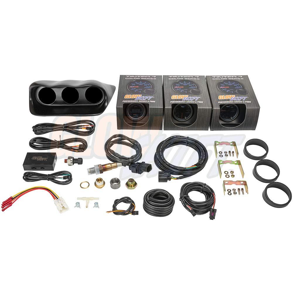 GlowShift Gauge Package for 2002-2007 Subaru Impreza WRX STI - Tinted 7 Color 30 PSI Boost/Vacuum, 100 PSI Oil Pressure & Digital Wideband Air/Fuel Ratio Gauges - Black Fiberglass Triple Dashboard Pod