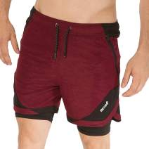 BOOMLEMON Mens 2 in 1 Running Shorts Gym Workout Quick Dry Inner Compression Short Pants with Zip Pocket