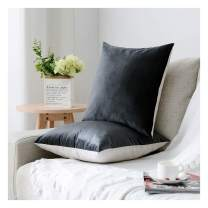 HPUK Pack of 2 Velvet Throw Pillow Cover Cozy Solid Pillowcase Decorative Cushion Cover for Couch Sofa Bedroom Office car, 17x17, Dark Grey, Reversible