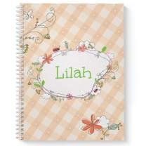 """Spring Picnic Children's Personalized Notebook/Journal, Laminated Soft Cover, 120 Sketch pages, lay flat wire-o spiral. Size: 8.5"""" x 11"""". Made in the USA"""