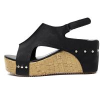 DEARWEN Women's Wedge Sandal Platform Cork Ankle Strap Sandals High Heels