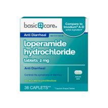 Basic Care Loperamide Hydrochloride Tablets, 2 mg, Anti-Diarrheal, 36 Count