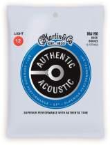 Martin Authentic Acoustic MA190 Light-Gauge Acoustic Guitar Strings, 80/20 Bronze