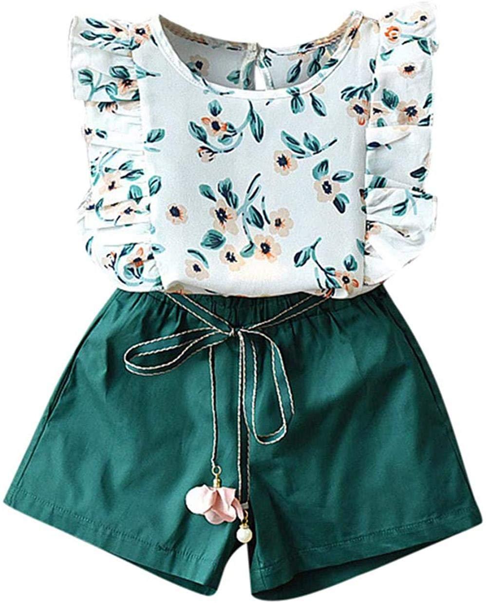 Toddler Baby Girl Summer Outfits Ruffle Flower Print T-Shirt 2-6T Kids Tops Bow Waistband Shorts 2Pcs Sets