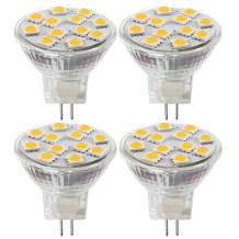2.4W LED MR11 Light Bulbs, 12v 20w Halogen Replacement, GU4 Bi-Pin Base, Soft White 3000K, (Pack Of 4)