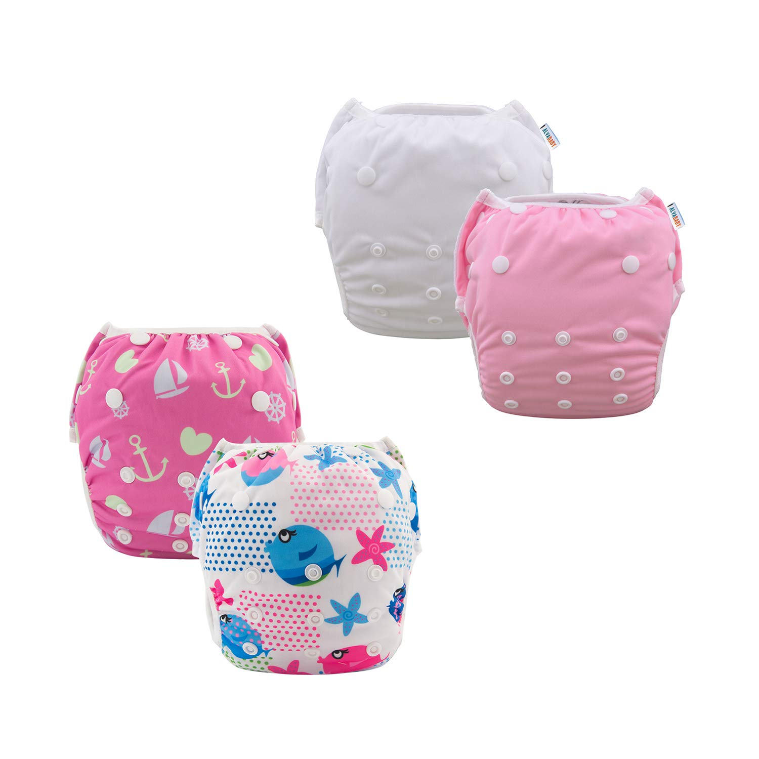 ALVABABY Baby Swim Diapers 4pcs Reuseable Adjustable for Swimming Lesson Baby Shower Gifts 3SW31