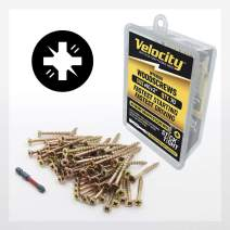 "Wood Screw - Velocity Interior Stick-Tight Wood Screw #10 x 2"" 70 Piece, Includes PSD ACR No-Wobble Driver Bit"
