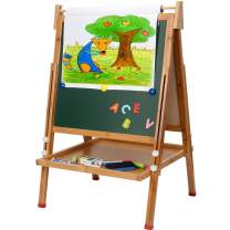 Kids Standing Art Easel with Paper Roll - Height Adjustable Chalk Board Magnetic White Board for Kids Painting and Drawing