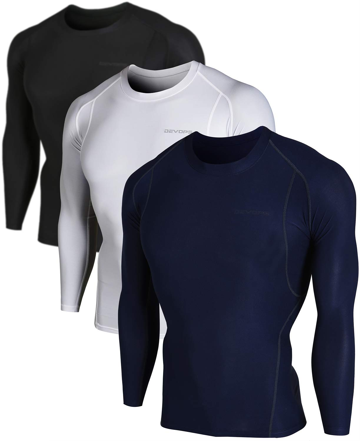 DEVOPS Men's 2~3 Pack Cool Dry Athletic Compression Long Sleeve Baselayer Workout T-Shirts