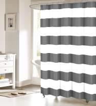 Fabric Shower Curtain: Nautical Stripe Design (Grey and White) 60x72inch