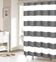 Fabric Shower Curtain: Nautical Stripe Design (Grey and White) 60x72inch