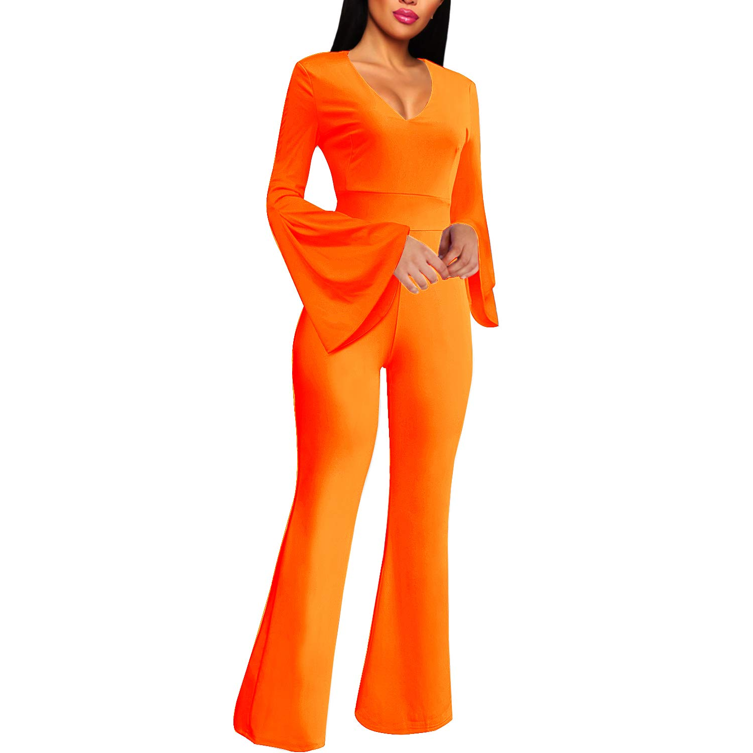 Cosics Flared Jumpsuit for Women Evening Wedding Formal, Long Sleeves V Neck Jumpsuits & Rompers with Long Bell Bottom
