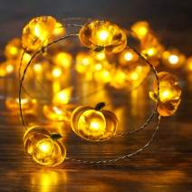 BOHON Pumpkin String Lights 10ft 40 LEDs Halloween String Lights Battery Powered with Remote & Timer for Thanksgiving Autumn Party Indoor Fall Outdoor Halloween Decoration