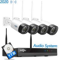 【8Channel,Audio】 Hiseeu Wireless Security Camera System,4Pcs 1080P Cameras 8Channel NVR,Mobile&PC Remote,Outdoor IP66 Waterproof,Night Vision,Motion Alert,Plug&Play, 7/24/Motion Record,1TB HDD