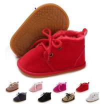 COSANKIM Baby Booties Baby Girl Shoes Winter Warm Fur Lining Non-Slip Lace Up Newborn Boots Infant Toddler First Walker Crib Shoes