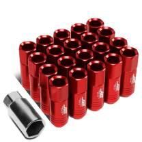 J2 Engineering LN-T7-009-15-RD Red 7075 Aluminum M12X1.5 20Pcs L: 60mm Open End Lug Nut w/Socket Adapter
