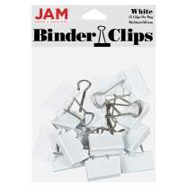 JAM PAPER Colorful Binder Clips - Medium - 1 1/4 Inch (32 mm) - White Binderclips - 15/Pack
